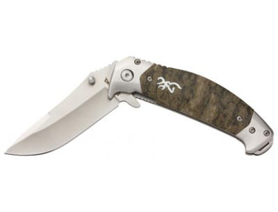 """Browning Tactical Hunter 3.25"""" Stainless Steel Modified Drop Point Blade Mossy Oak Bottomland Handle"""