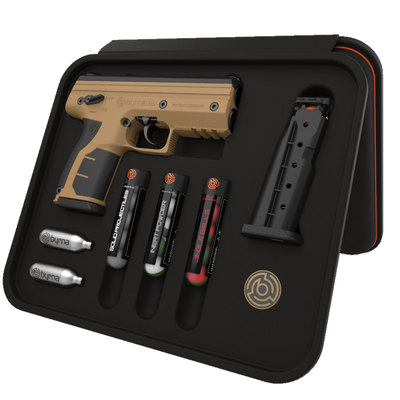 Byrna Technologies HD Pepper Kit Desert Tan .68 Caliber 5-Rounds Non-Lethal with Laser Pointers, Flashlights, Holsters
