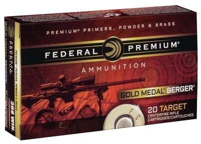 Federal Premium Gold Medal Brass 6.5 Creedmoor 20-Rounds 130-Grain Berger Hybrid Open Tip Match