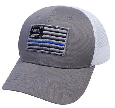 Glock Blue Line Hat Snapback White / Grey