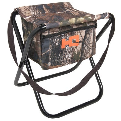 HQ Outfitters Camo Folding Stool with Storage Pocket