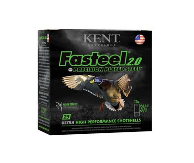 """Kent Fasteel 2.0 Precision Plated Steel 12 GA, 3-1/2"""", 1 3/8 oz, 1550 fps, 25 Rounds per Box"""