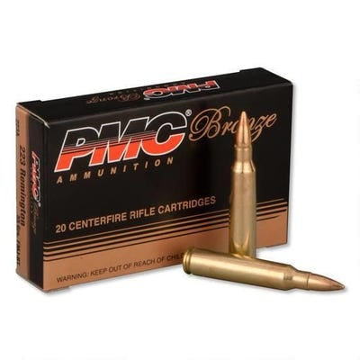 PMC Ammunition Bronze Full Metal Jacket Boat Tail 55 Grain Brass .223 Rem 20Rds