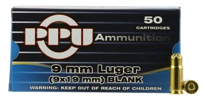 PPU Blank Rounds Brass 9mm 50-Rounds