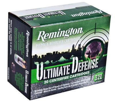 Remington Ultimate Defense Nickel Plated Brass 9mm 124-Grain 20-Rounds BJHP