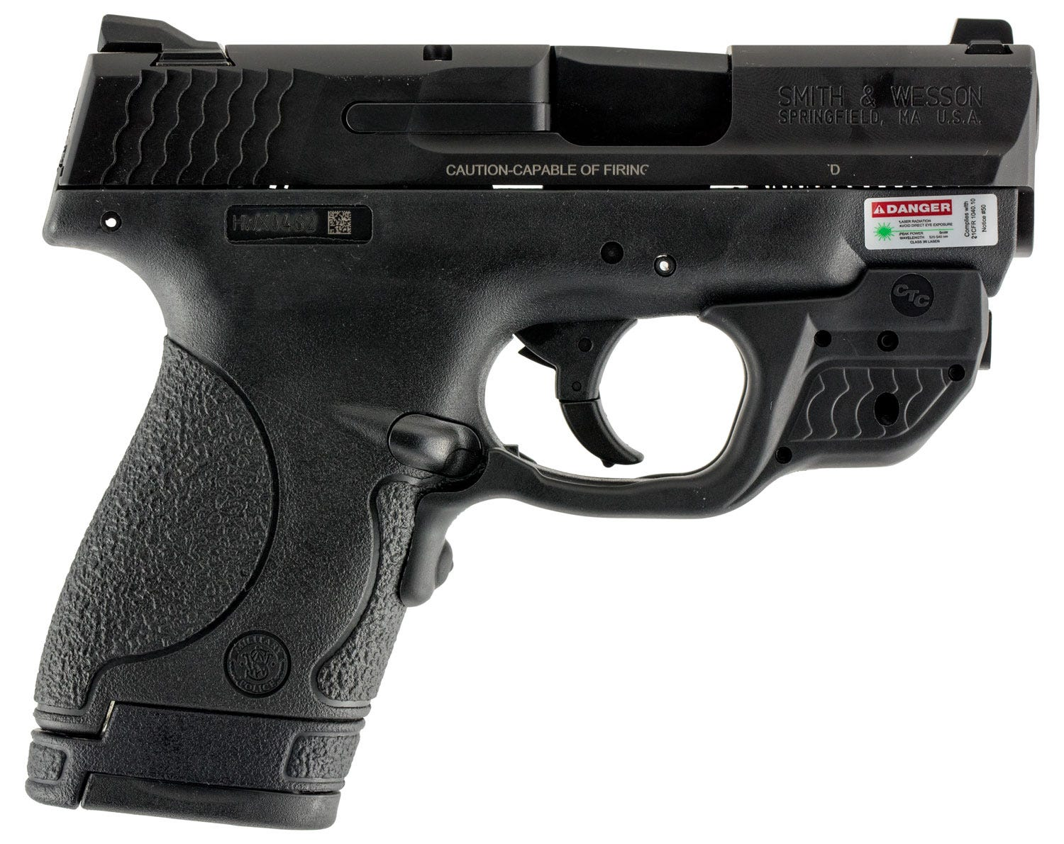 Smith and Wesson M&P9 Shield Black 9mm 3 1-inch 7Rd Crimson Trace Green  Laserguard