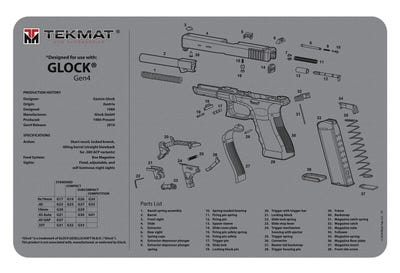 "TekMat Original Cleaning Mat Gray 11x17"" with Glock Gen4 Diagram"
