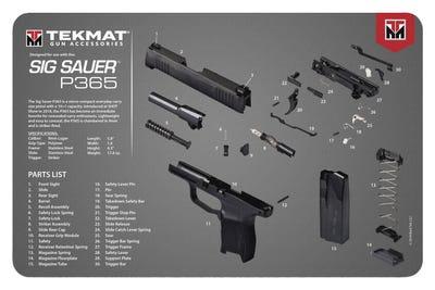 """TekMat Original Cleaning Mat 11x17"""" with Sig P365 Diagram"""
