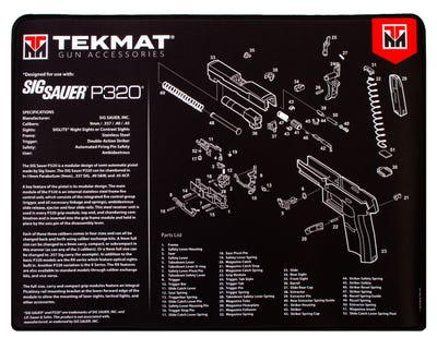 """TekMat Ultra Premium Cleaning Mat 15x20"""" with Sig P320 Diagram"""