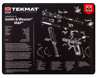 TekMat Ultra20 Premium Cleaning Mat S&W M&P Parts Diagram w/ Microfiber TekTowel