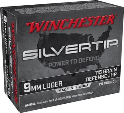 Winchester Silvertip Pistol Ammo 9MM HP 115 Grain 20 RDs