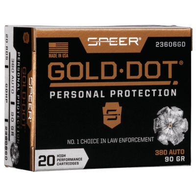 Speer Gold Dot Personal Protection Ammo Nickel Plated Brass .380 ACP 20-Rounds 90 Grain HP