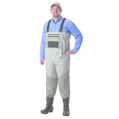 Caddis Systems Stout 2 Tone Taupe Breathable Chest Waders with Size 10 Boots
