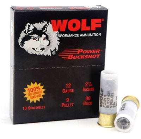 "Wolf Performance Ammo Power Buckshot 12 GA 00-Buck 2 3/4"" Chamber 10 Rds per Box"