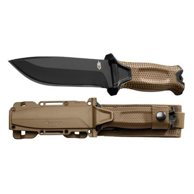 """Gerber Cutlery Strongarm Fixed Blade Knife Coyote Brown - 4.8"""" Plain Drop-Point Blade"""