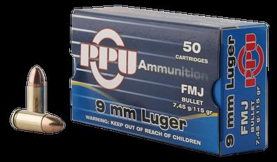 PPU Centerfire Handgun Brass 9mm 115-Grain 50-Rounds FMJ
