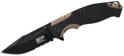 """Smith and Wesson M&P Magic Folding Knife - 3.375"""" Black Plain Clip Point Blade"""