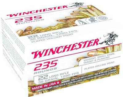 Winchester Rimfire Rifle Brass .22 LR 36-Grain 235-Rounds CPHP