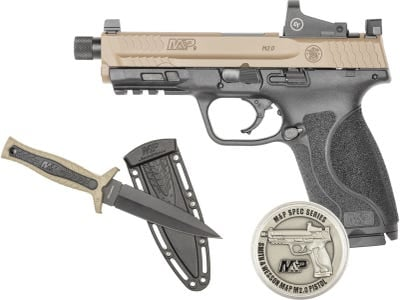"""Smith and Wesson M&P M2.0 OR Specs Series Kit Black 9mm 4.6"""" Barrel 17-Rounds Flat Dark Earh Slide with Suppressor Height Night Sight"""