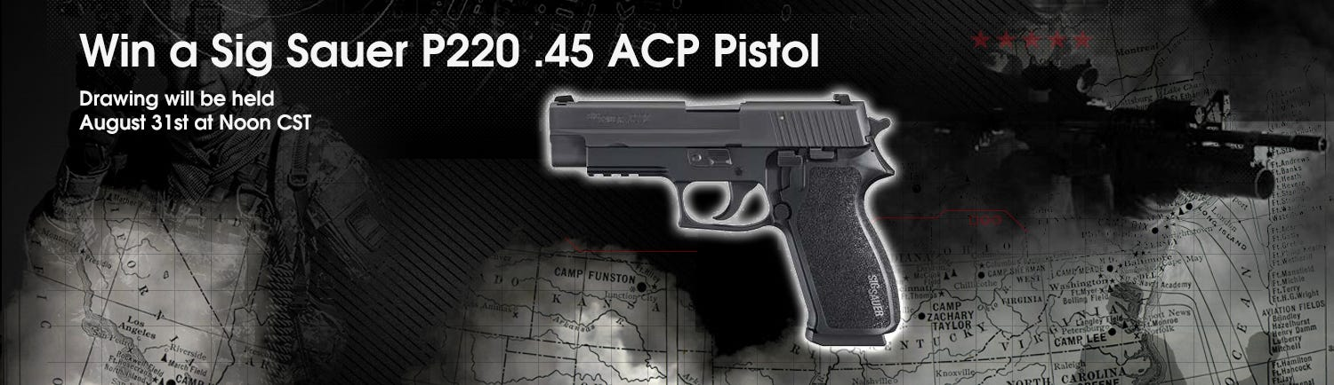 GrabAGun Monthly Giveaway - Win a Sig Sauer P220 45 ACP Pistol