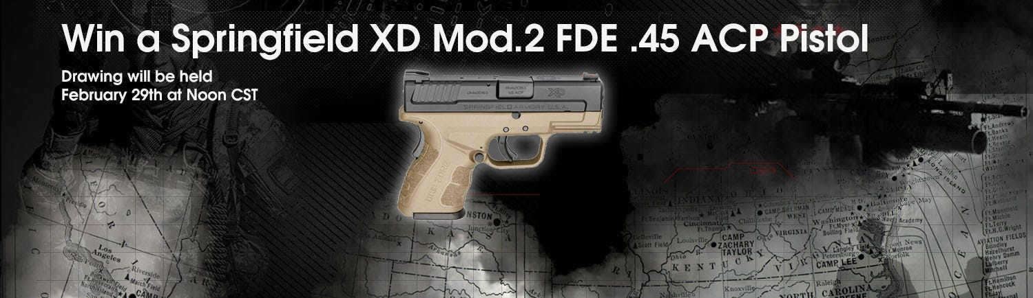 GrabAGun Monthly Giveaway - Win a Springfield XD Mod.2 FDE .45ACP Pistol